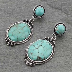 Jewelry - Faux Turquoise Stone Post Earrings